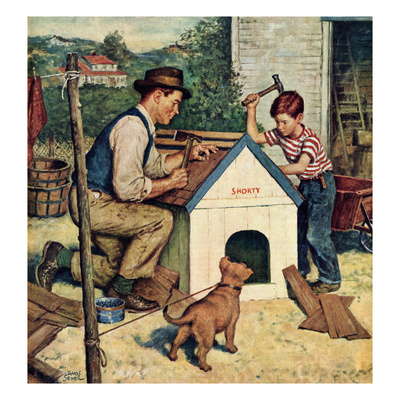 """""""Building the Doghouse"""", March 24, 1951 Giclee Print by Amos Sewell"""
