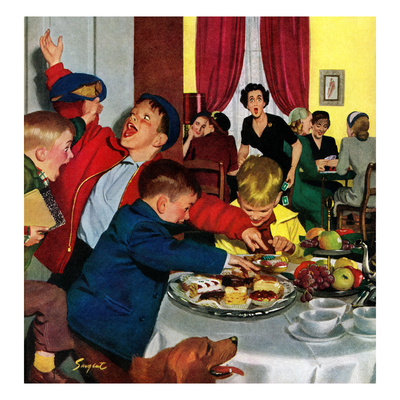 """Crashing Mom's Card Party"", December 20, 1952 Stampa giclée di Richard Sargent"