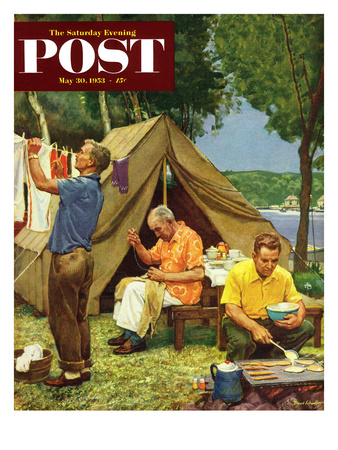 """""""Three Generations Camping"""" Saturday Evening Post Cover, May 30, 1953 Giclee Print by Mead Schaeffer"""