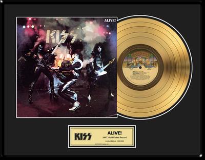 """KISS - """"Alive!"""" Gold LP Framed Memorabilia"""