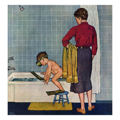 """""""Scuba in the Tub"""", November 29, 1958 Giclee Print by Amos Sewell"""