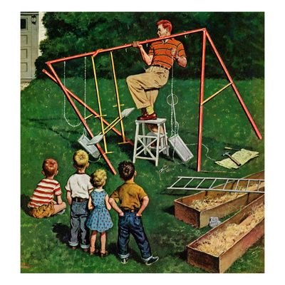 """""""Swing-set"""", June 16, 1956 Giclee Print by Amos Sewell"""