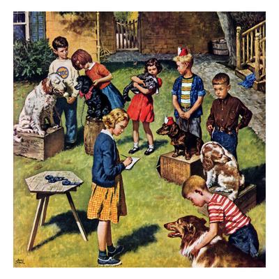 """Backyard Dog Show"", July 8, 1950 Giclee Print by Amos Sewell"