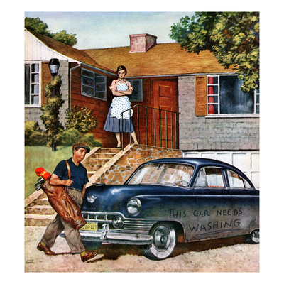 """""""This Car Needs Washing"""", October 3, 1953 Giclee Print by Amos Sewell"""
