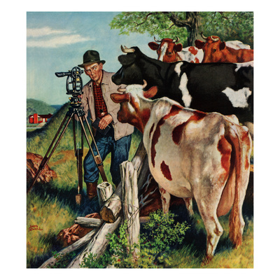 """Surveying the Cow Pasture"", July 28, 1956 Giclee Print by Amos Sewell"