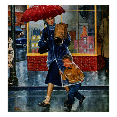 """""""Leaving Grocery in Rain"""", April 24, 1954 Giclee Print by Amos Sewell"""