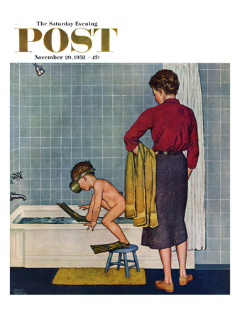 """""""Scuba in the Tub"""" Saturday Evening Post Cover, November 29, 1958 Giclee Print by Amos Sewell"""
