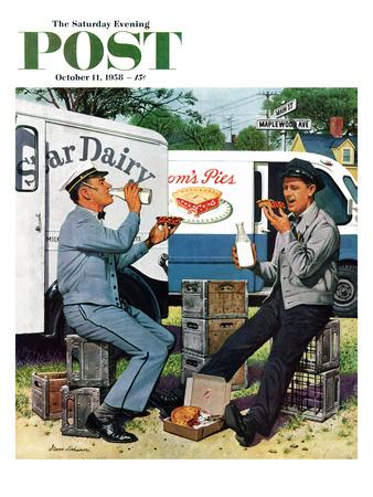 """Milkman Meets Pieman"" Saturday Evening Post Cover, October 11, 1958 Giclee Print by Stevan Dohanos"