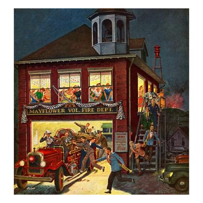 """Fireman's Ball"", April 3, 1954 Giclee Print by Ben Kimberly Prins"