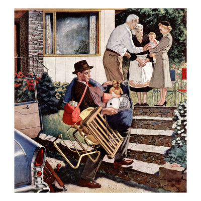 """""""Visiting the Grandparents"""", August 3, 1957 Giclee Print by Amos Sewell"""