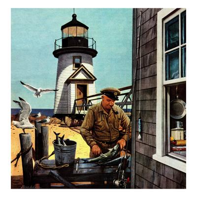 """Lighthouse Keeper"", June 26, 1954 Giclee Print by Stevan Dohanos"