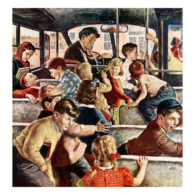 """""""Rowdy Bus Ride"""", September 9, 1950 Giclee Print by Amos Sewell"""