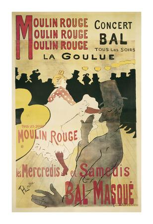 Moulin Rouge, La Goulue Art by Henri de Toulouse-Lautrec