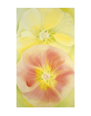 Pink and Yellow Hollyhocks, c.1952 Kunstdruck