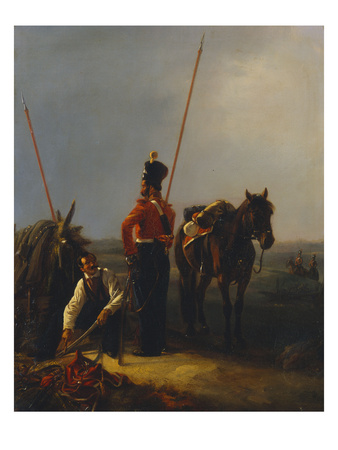 Two Guard Cossack Soldiers in Discussion Premium Giclee Print by Alexander Petrovich Schwabe