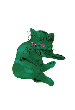 """Cat From """"25 Cats Named Sam and One Blue Pussy"""" , c. 1954 (Green Cat) Stampa di Andy Warhol"""