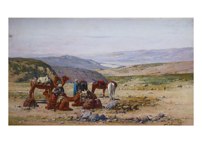 An Extensive Landscape with an Arab Caravan at Rest Giclee Print