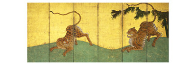 Tiger and Leopard Among Bamboo reproduction procédé giclée