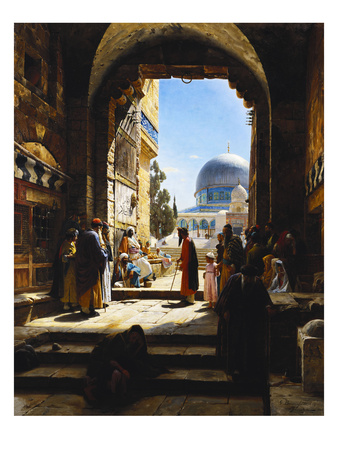At the Entrance to the Temple Mount, Jerusalem Giclee Print by Gustav Bauernfeind