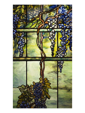 Detail from a Fine Leaded Glass Triptych Window (Wisteria) Premium Giclee Print
