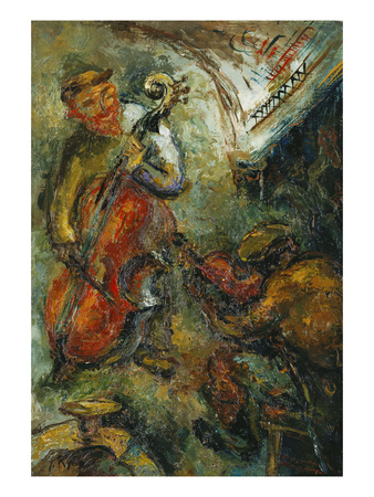 The Two Musicians; Les Deux Musiciens Premium Giclee Print by Issachar Ryback