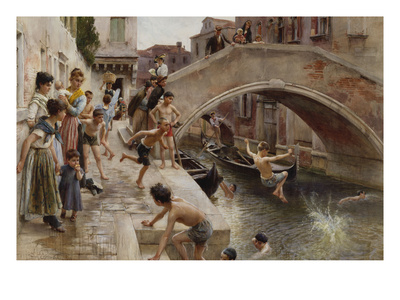 Figures on a Venetian Canal Premium Giclee Print by Ludwig Passini