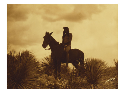The Scout, Apache Premium Giclee Print by Edward S. Curtis