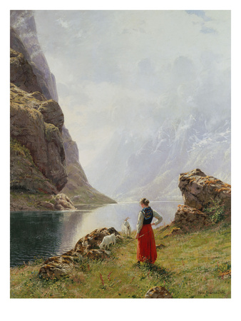 A Girl with Goats by a Fjord Premium Giclee Print by Hans Dahl