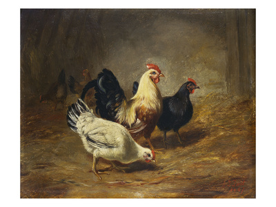 Poultry Feeding Premium Giclee Print by Arthur Fitzwilliam Tait