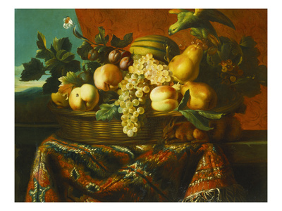 Grapes, Peaches, Plums, Pears and a Melon in a Basket with a Parakeet, a Red Squirrel and a… Premium Giclee Print by Pierre Dupuis