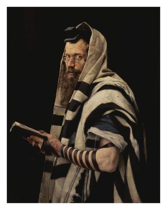 Rabbi with Tefillin Premium Giclee Print by Jan Styka