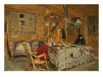 Denise Natanson and Marcelle Aron at the Summer House, Villerville, Normandie Premium Giclee Print by Edouard Vuillard