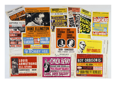 Collection of 1960's Odeon Concert Hall Bills, Including the Beach Boys, Duke Ellington, Ella… Premium Giclee Print