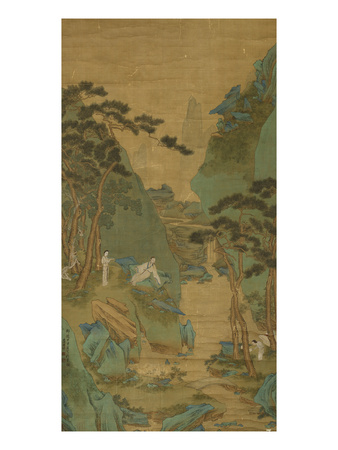 A Scholar Listening to a Waterfall Premium Giclee Print by Li Shizuo