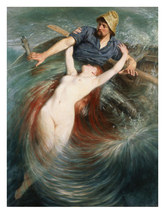A Fisherman Engulfed by a Siren Premium Giclee Print by Knut Ekvall