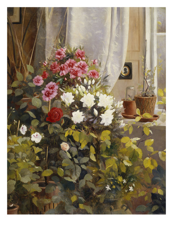 Azaleas, Geraniums, Roses and Other Potted Plants by a Window Premium Giclee Print by Carl Christian Carlsen