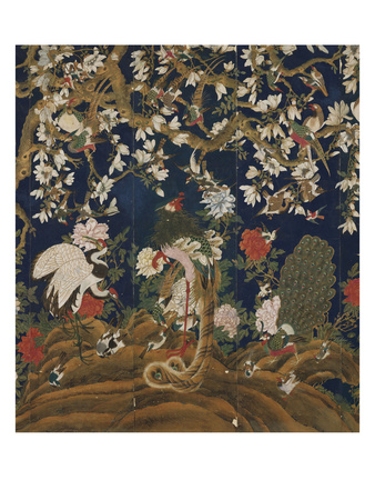 Detail from a Set of Chinese Painted Wallpaper Panels Depicting Pheasants, Phoenix and Peacocks… Giclee Print