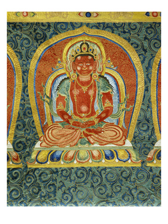 Detail of the Manjusri Boddhisatva from a Rare and Important Large Imperial Embroidered Silk Thanka Premium Giclee Print