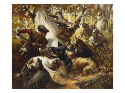 The Wild Boar Hunt Premium Giclee Print by Ferdinand Wagner