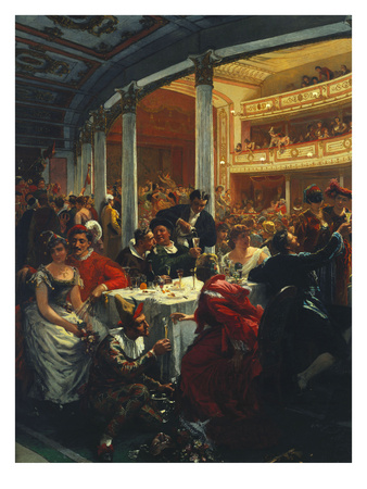 A Masked Ball in a Theatre Premium Giclee Print by Alois Schonn
