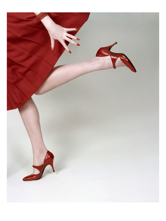 Vogue - February 1958 - Fleming-Joffe Red Heels Photographic Print by Richard Rutledge