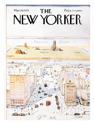 The New Yorker Cover, View of the World from 9th Avenue - March 29, 1976 Lámina giclée