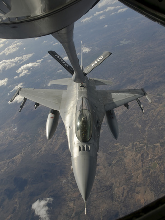 A Chilean Air Force F-16 Refuels from a U.S. Air Force Kc-135 Stratotanker Photographic Print by  Stocktrek Images