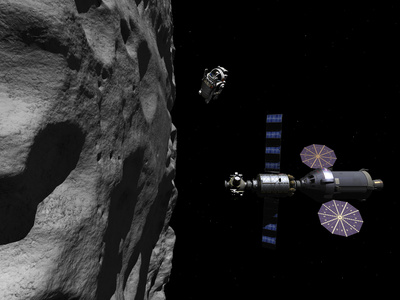 A Manned Maneuvering Vehicle Descends Toward the Surface of a Small Asteroid Photographic Print by  Stocktrek Images