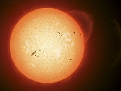 Illustration of the Sun with Visible Dark Sunspots on the Surface, Prominences and Some Solar Wind Photographic Print by  Stocktrek Images