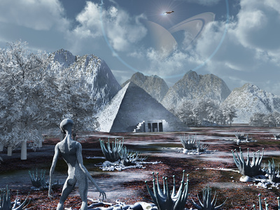 An Extraterrestrial Surveys an Ancient Structure on a Distant Alien World Lámina fotográfica