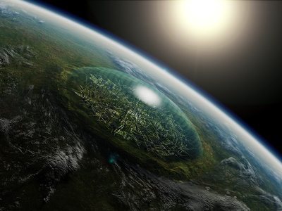 Artist's Concept of a Giant Domed City in an Asteroid Crater on a Hypothetical Planet Photographic Print by  Stocktrek Images