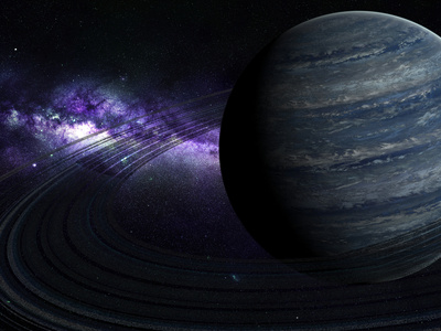 Artist's Concept of a Blue Ringed Gas Giant in Front of a Galaxy Photographic Print by  Stocktrek Images
