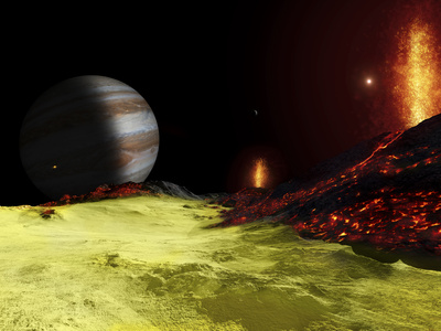 Volcanic Activity on Jupiter's Moon Io, with the Planet Jupiter Visible on the Horizon Photographic Print by  Stocktrek Images