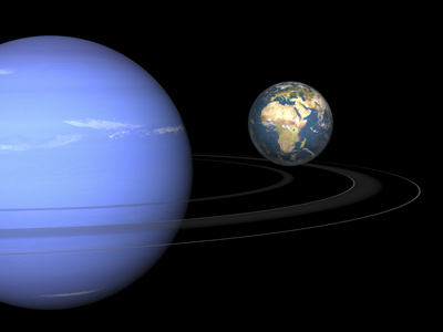 Artist' Concept of Neptune and Earth Photographic Print